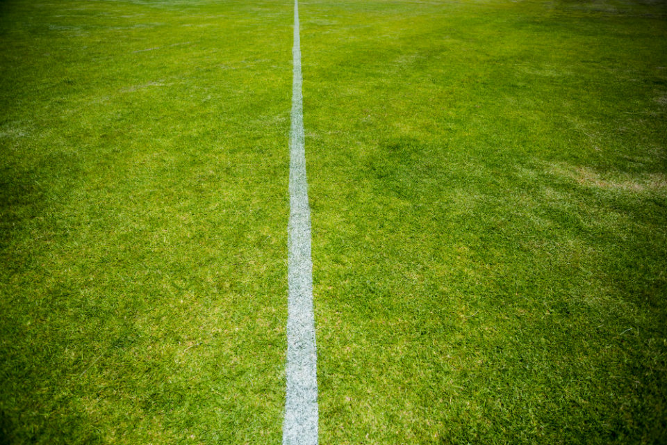 Boundary white line on a sports pitch