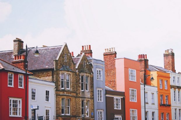 Row of houses, varying in age.