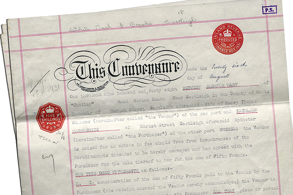 Example of a title deeds document