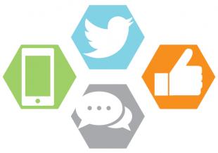 Social media logos and symbols.
