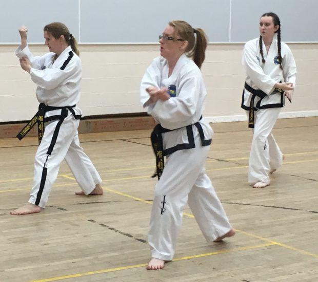 Kirsty Owen in a Taekwondo class.
