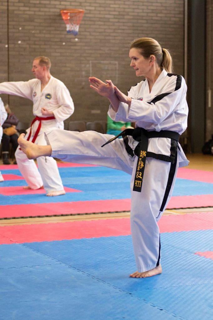 Kirsty doing taekwondo