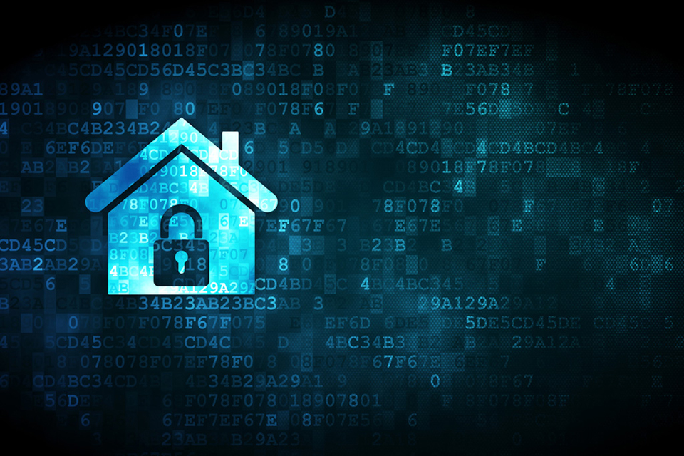 A house with a padlock superimposed and background of computer codes.