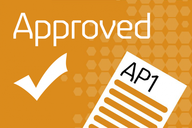 An AP1 form alongside a tick and the text: 'Approved'.