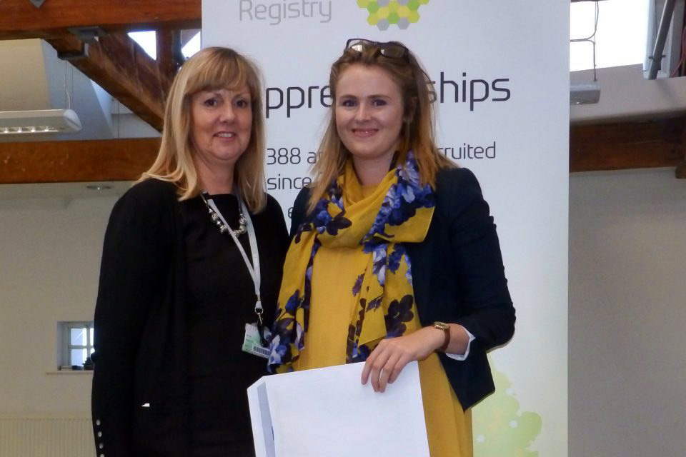 Georgina Ford receives her award from Julie Dias of RNN Training.
