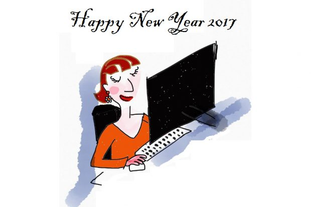Computer operator below message: 'Happy New Year 2017'.
