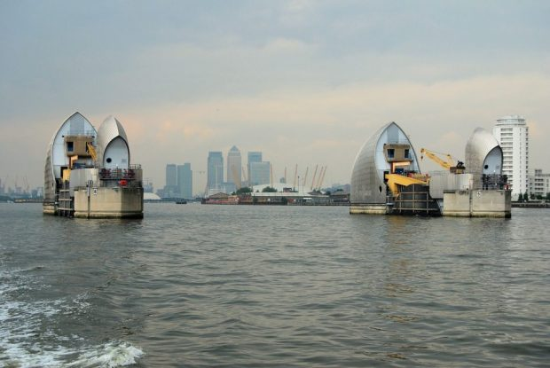 The Thames Barrier with the gates open.