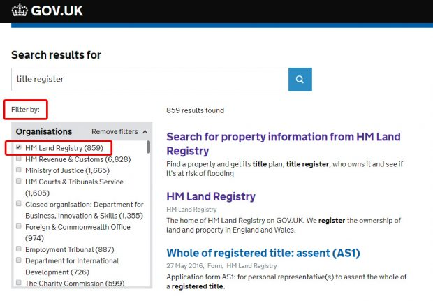GOV.UK search filter