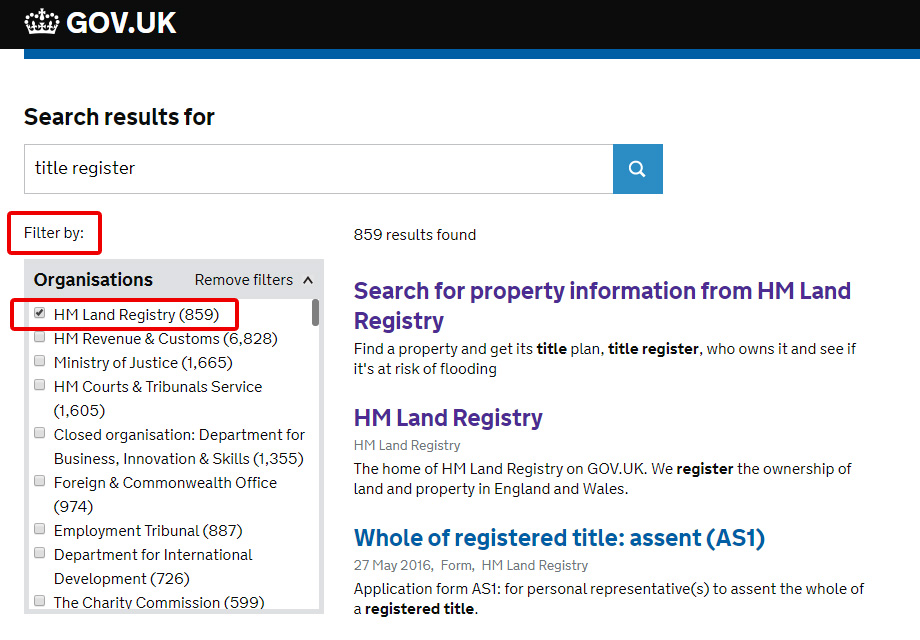 GOV.UK search filter showing HM Land Registry results.