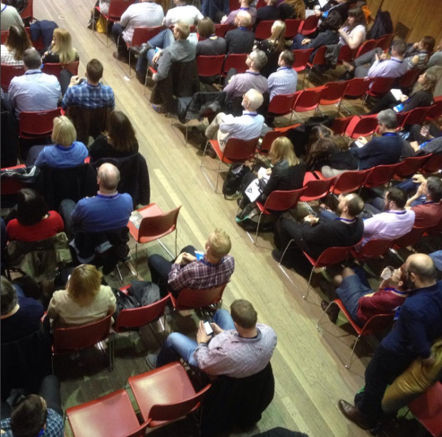 Conference delegates in the main hall at Conway Hall.