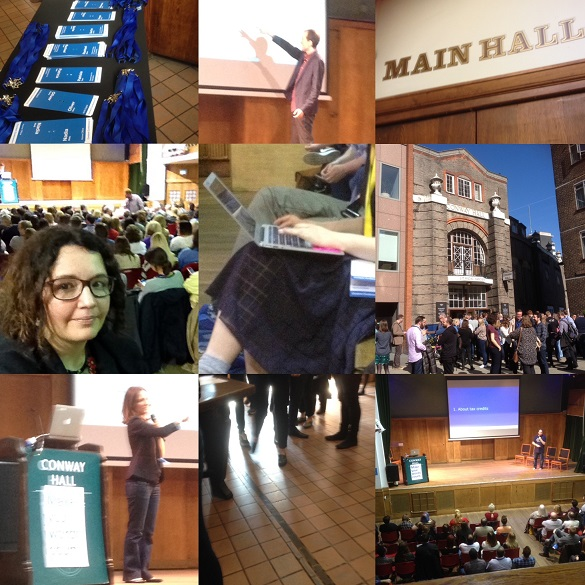 A table with delegate packs; a speaker points at a screen; a sign saying: 'Main Hall'; Stephanie in the hall; a delegate making notes on a laptop; outside Conway Hall; a speaker next to a podium; delegates arrive; the main hall with stage and big screen.