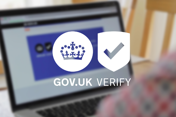 Open laptop with GOV.UK Verify logo superimposed.