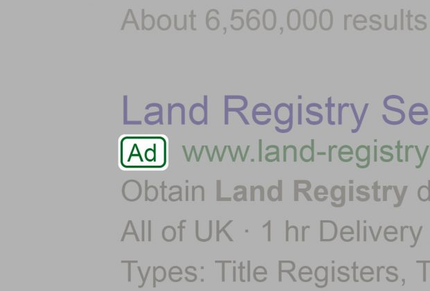 A paid advert for 'Land Registry Services'.