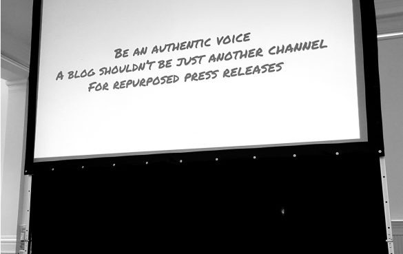 Screen showing a message about blog writing: 'Be an authentic voice.'