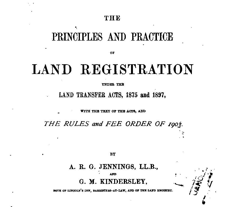 Cover of Principles and Practice of Land Registration