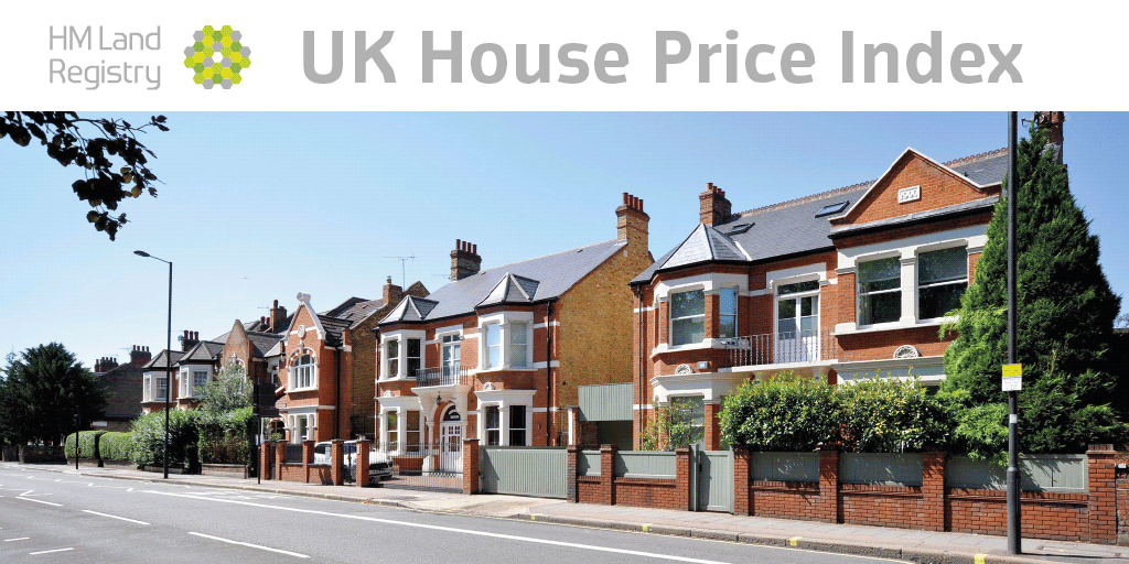 Street of two-storey homes under banner saying 'UK House Price Index'.
