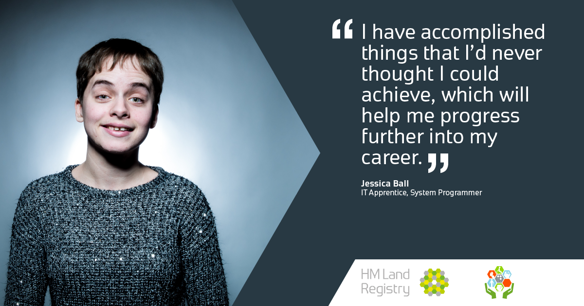 "Profile shot of Jessica Ball, IT Apprentice at HM Land Registry - ""I have accomplished things that I'd never thought I could achieve, which will help me progress further into my career"""