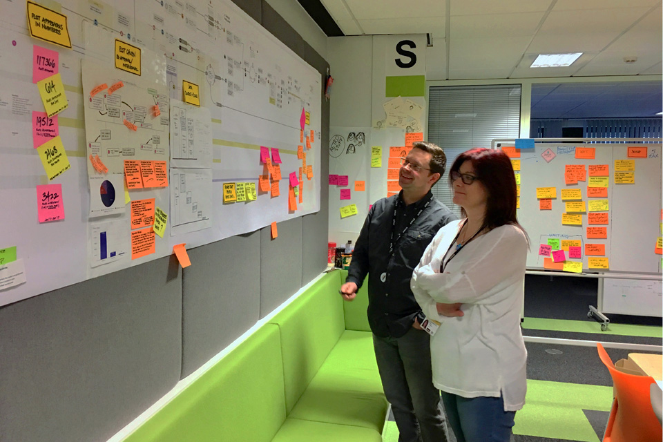 Two colleagues study project board