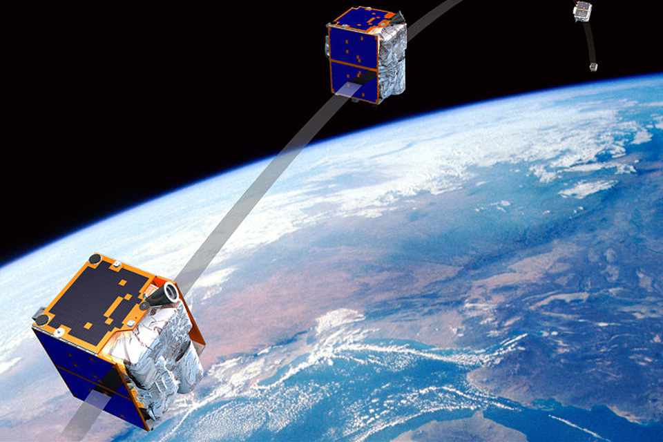 Satellites transmitting messages around the Earth