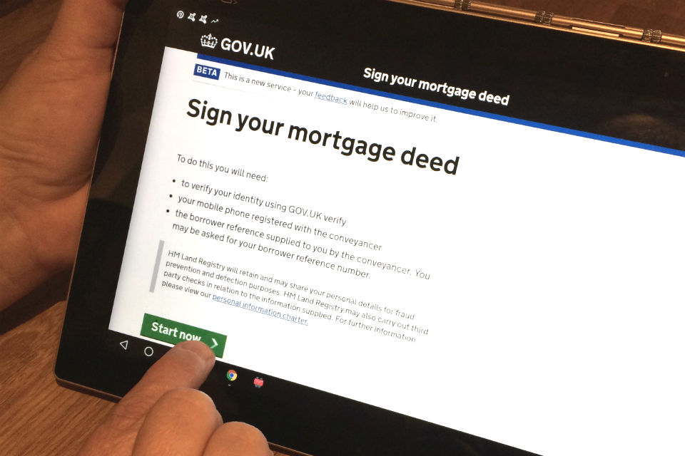 'Sign your mortgage deed' service being used on a tablet device.