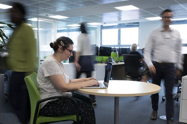 People moving quickly through our office