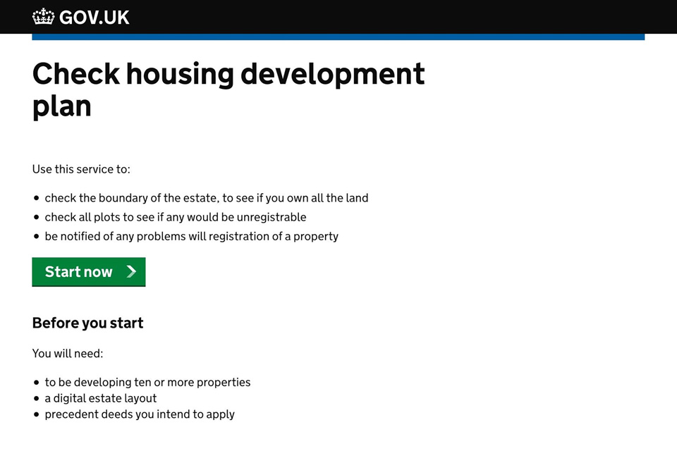 Screenshot showing a mockup of a housing development check service