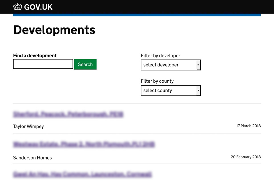 Screenshot showing a service mockup with a list of housing developments