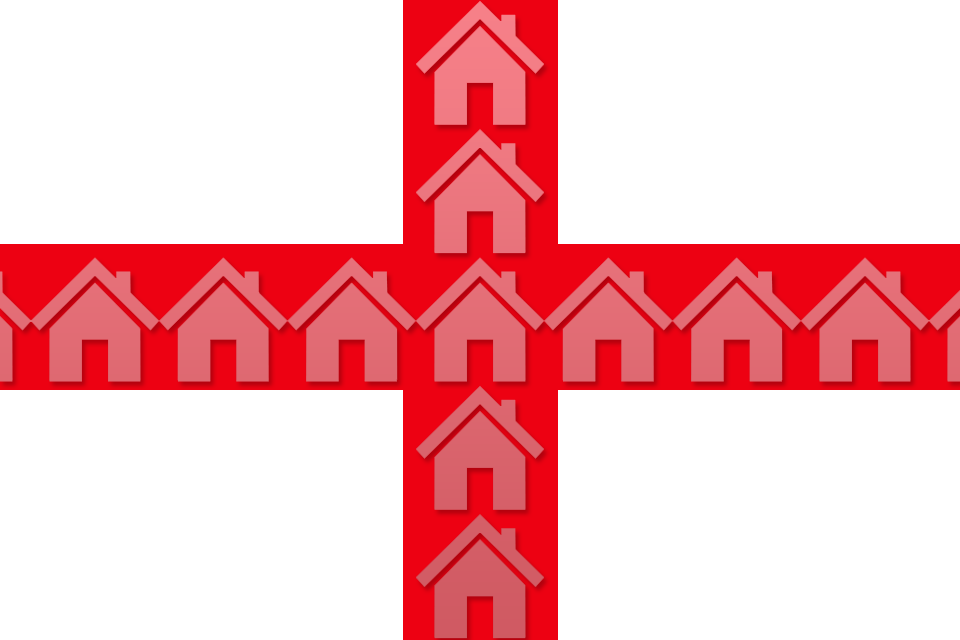 England flag with houses