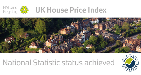 Aerial view of houses with text: 'National Statistic status achieved'.