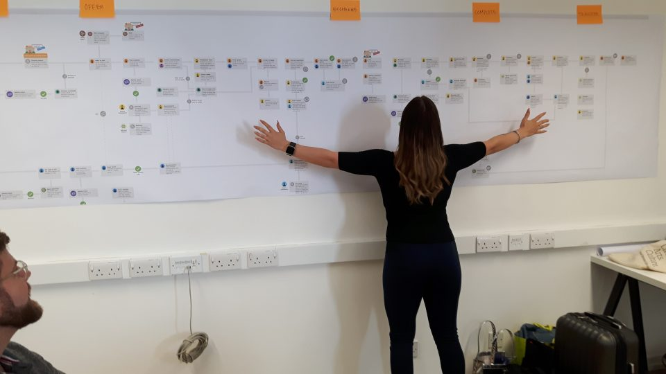 The conveyancing and registration process mapped out being read by a Digital Street Team member