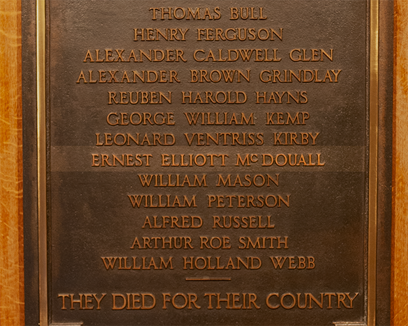 Ernest McDouall's name highlighted on First World War memorial plaque