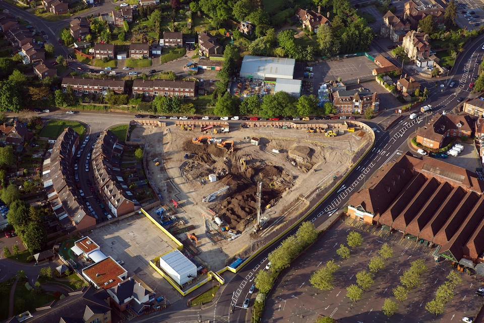 Housing and land under development in an English town