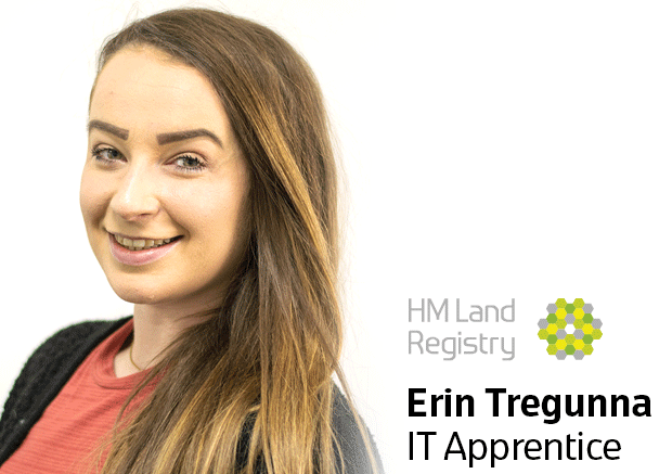 Photo of Erin Tregunna with text 'Erin Tregunna, IT Apprentice'