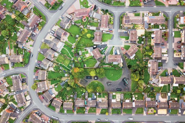 An aerial view of a suburban housing estate