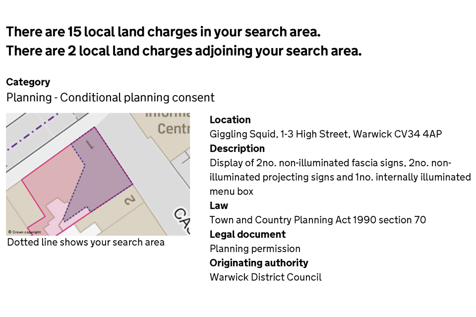 Extract of an on-screen local land charges search result with details of the property and a plan.