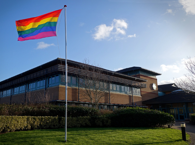Rainbow flag flying outside an HM Land Registry office.
