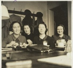Four HM Land Registry typists having lunch in an office in 1938.