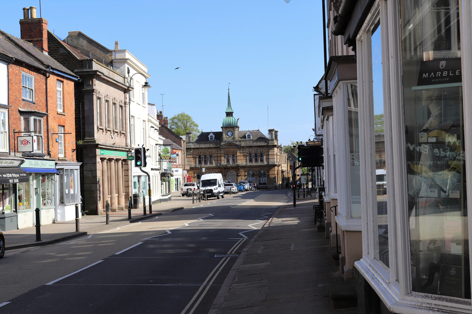 Towcester town centre deserted during the coronavirus lockdown.