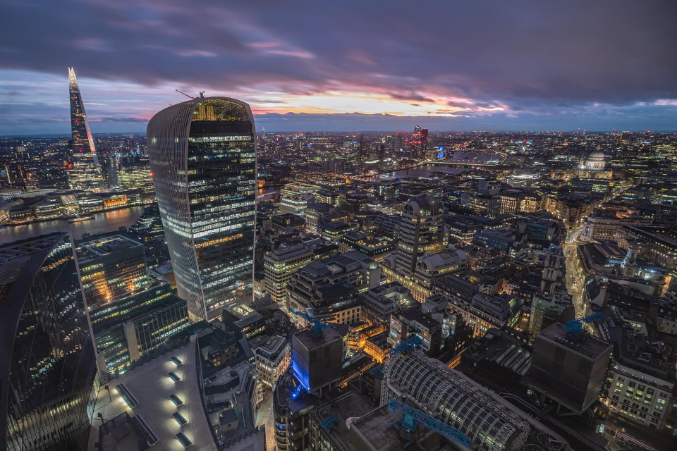 Aerial view from Fenchurch Avenue, London, United Kingdom