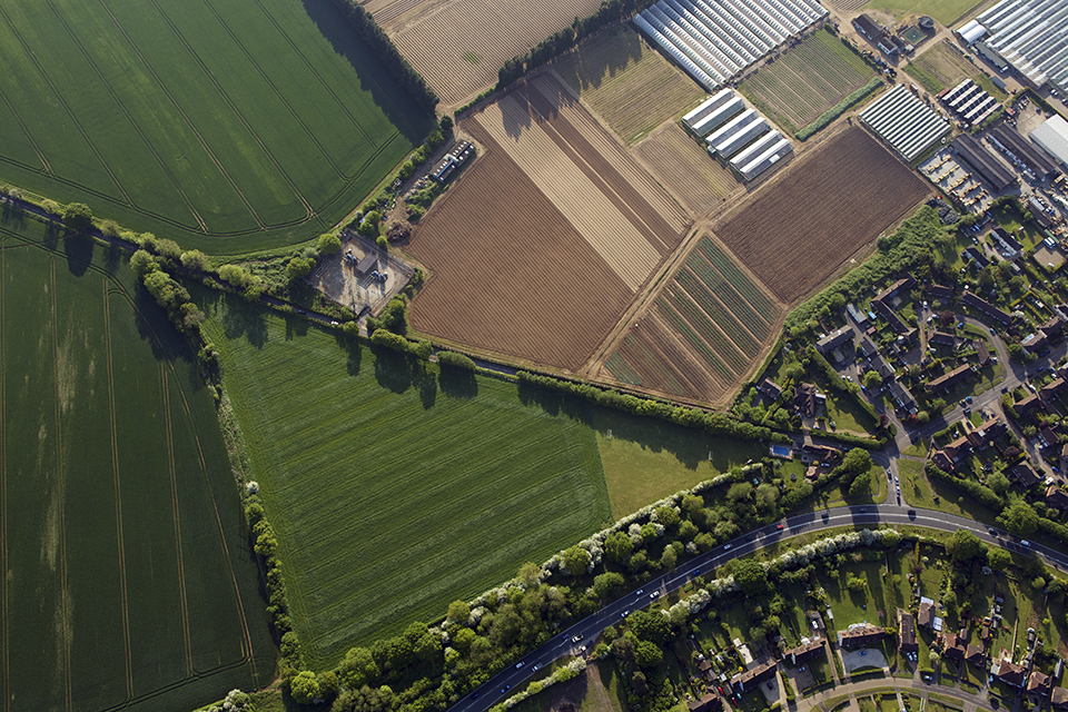 aerial view of agricultural land.